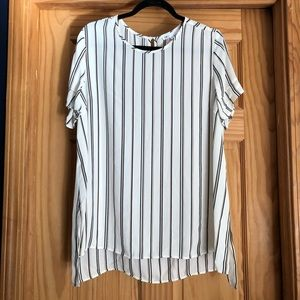 DR2 Cream Blouse with black and brown stripe-XL